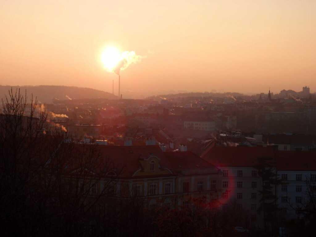 Východ slunce nad Nuslí.