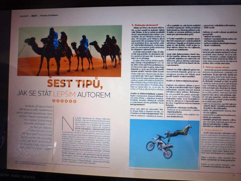 článek v časopise Talent