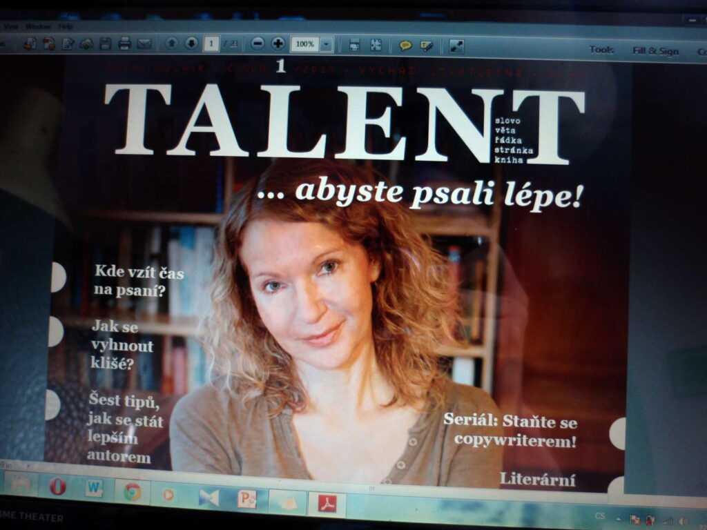 Titulní strana časopisu Talent