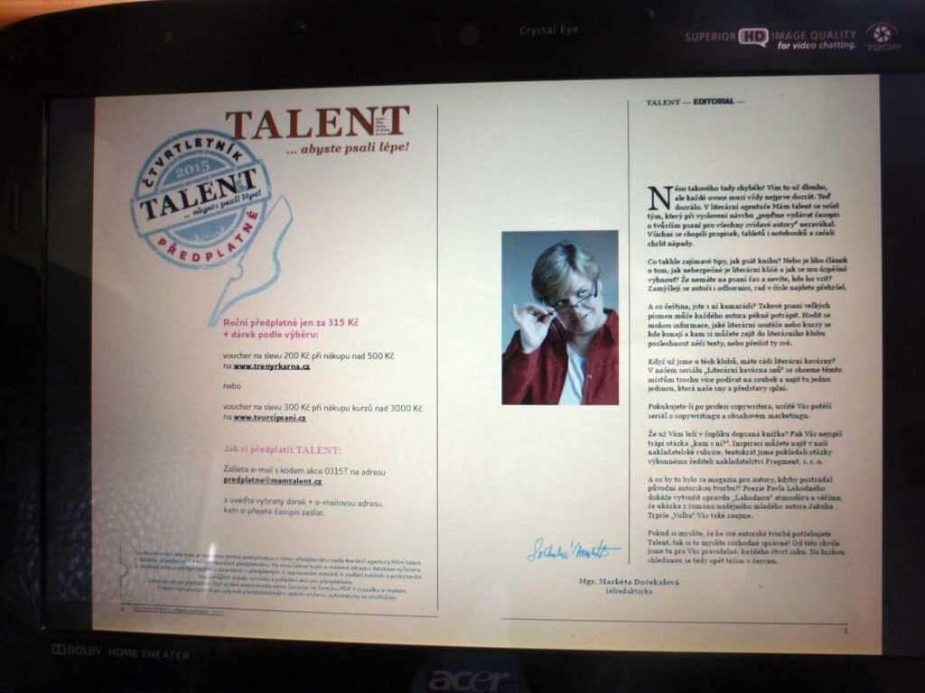 časopis o tvůrčím psaní - Talent