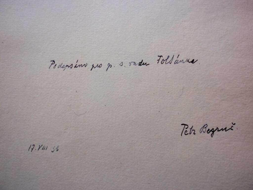 Bezručův podpis pro Foltánka.