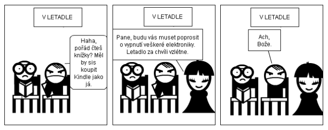 komiks kniha vs čtečka