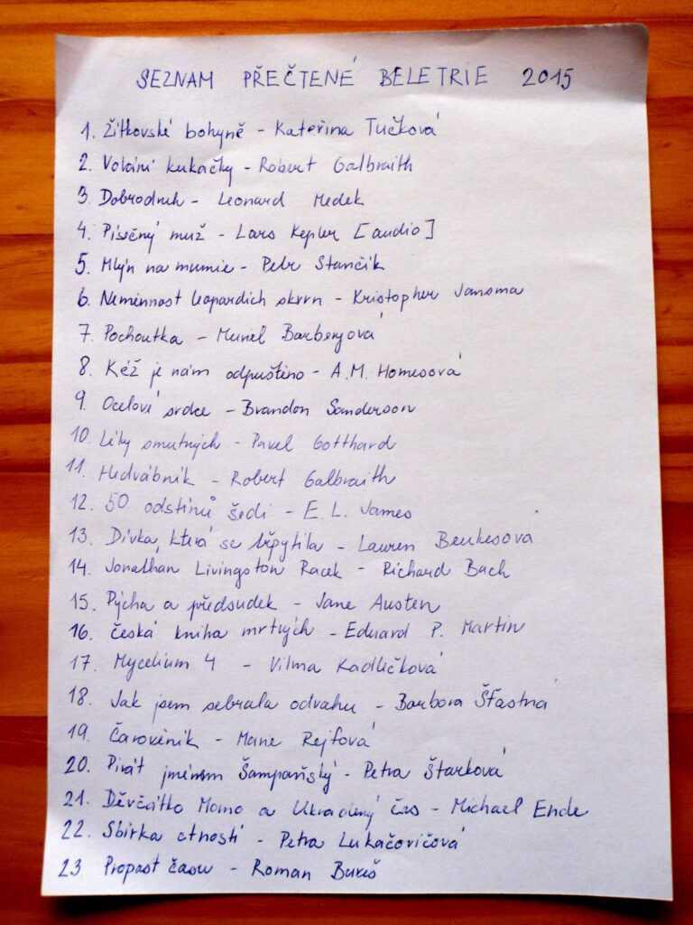 Seznam přečtených knih 2015